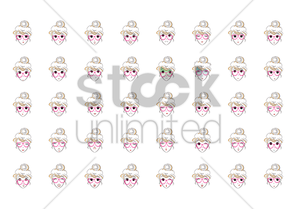 girl with various facial expressions vector graphic