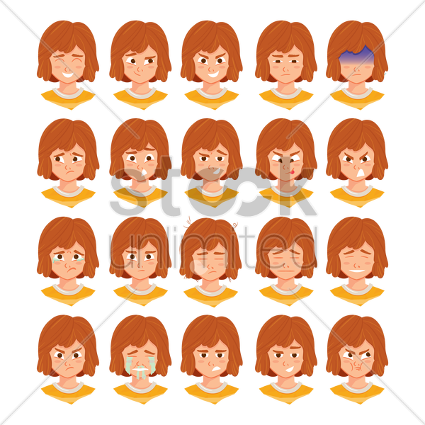 Free girl with various facial expressions vector graphic