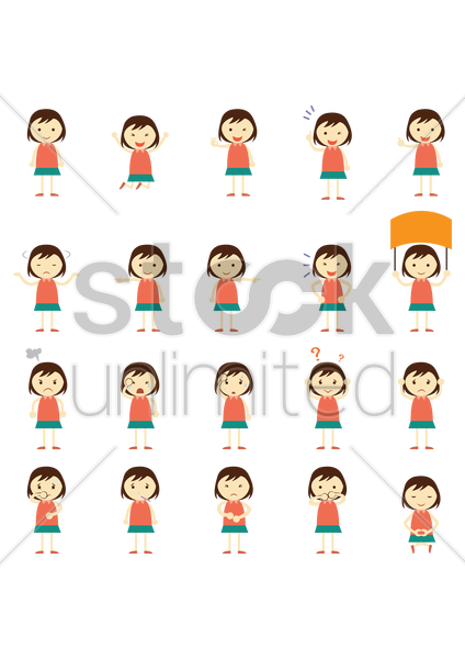 girls expression icons vector graphic
