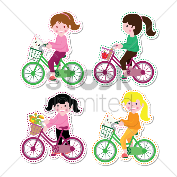 girls riding bicycle labels vector graphic