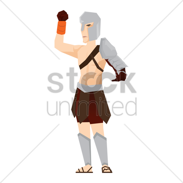 gladiator soldier with hand gesture vector graphic