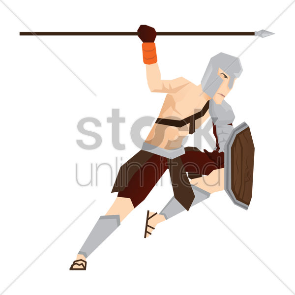 gladiator soldier with spear and shield vector graphic