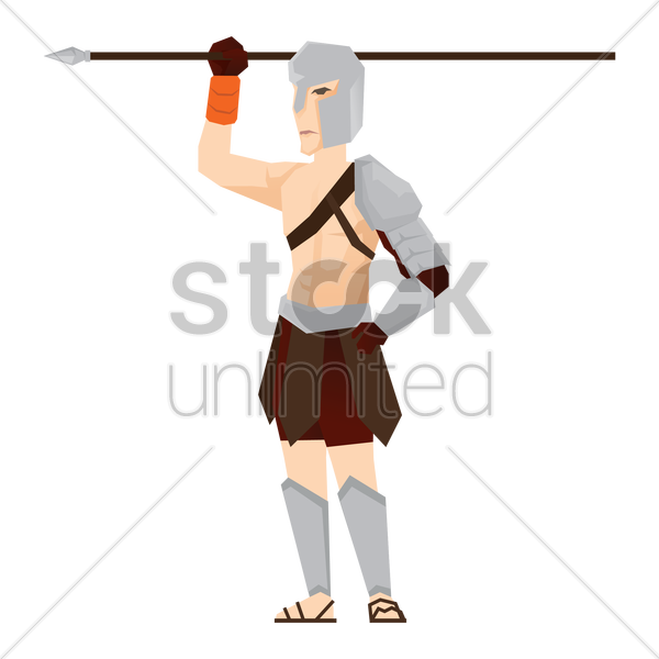 gladiator soldier with spear vector graphic