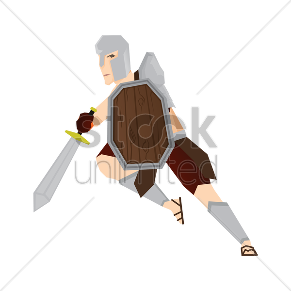 gladiator soldier with sword and shield vector graphic