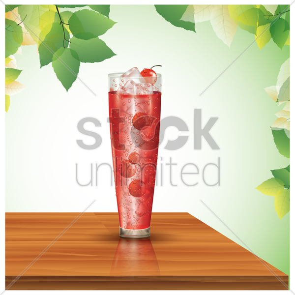 glass of cherry juice vector graphic