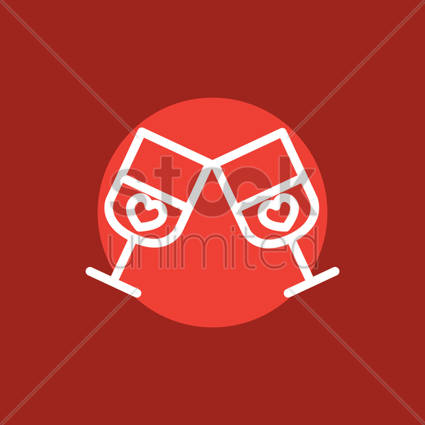 glasses of wine vector graphic