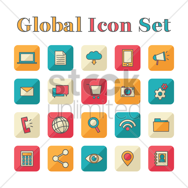 global icon set vector graphic
