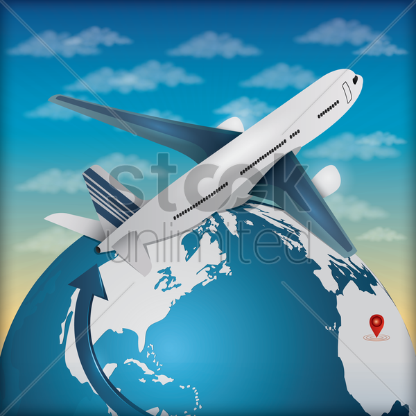 globe and airplane vector graphic