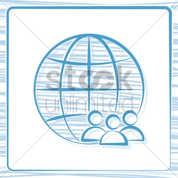 globe and group icon vector graphic