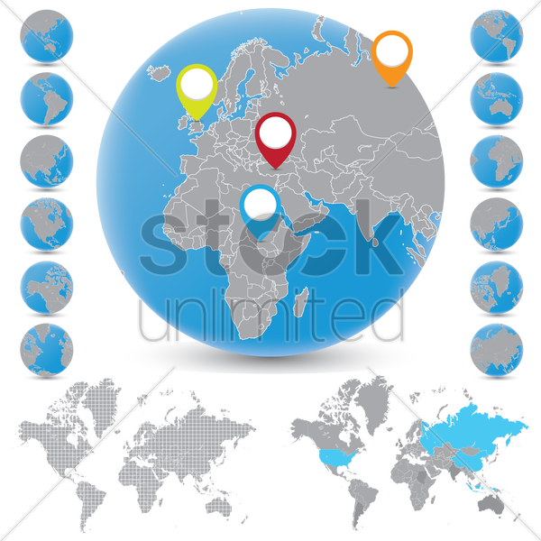 globe and world map with location indicator vector graphic