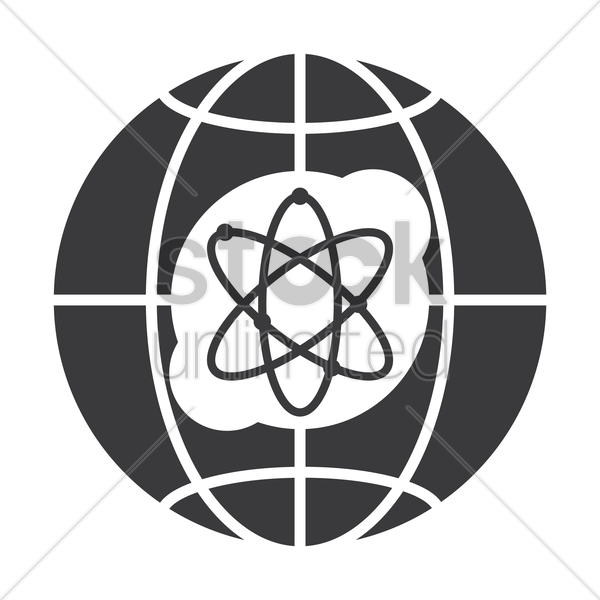 globe icon with atomic symbol vector graphic