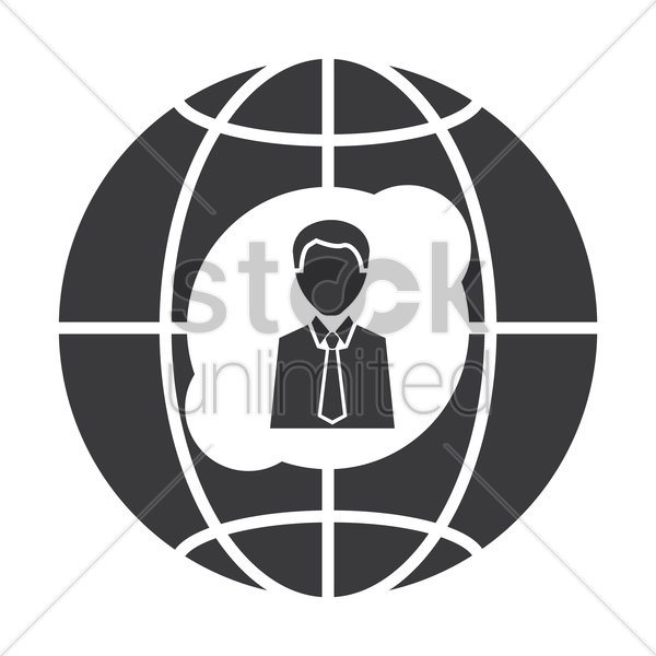 globe icon with businessman vector graphic