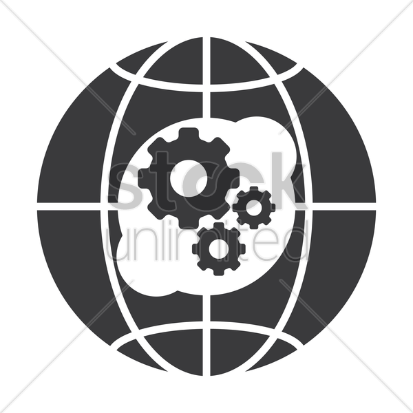 globe icon with cog wheel vector graphic