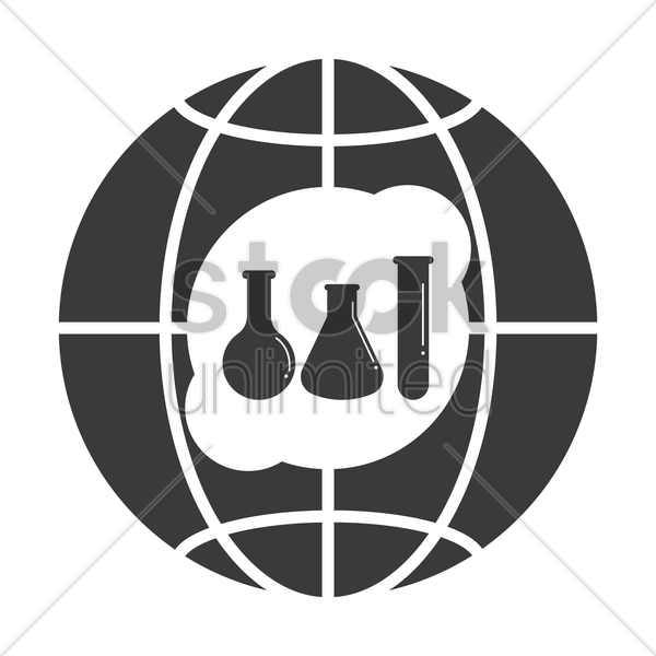 globe icon with test tubes vector graphic