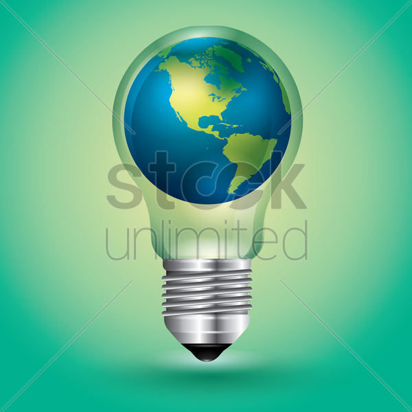 globe in a lightbulb vector graphic