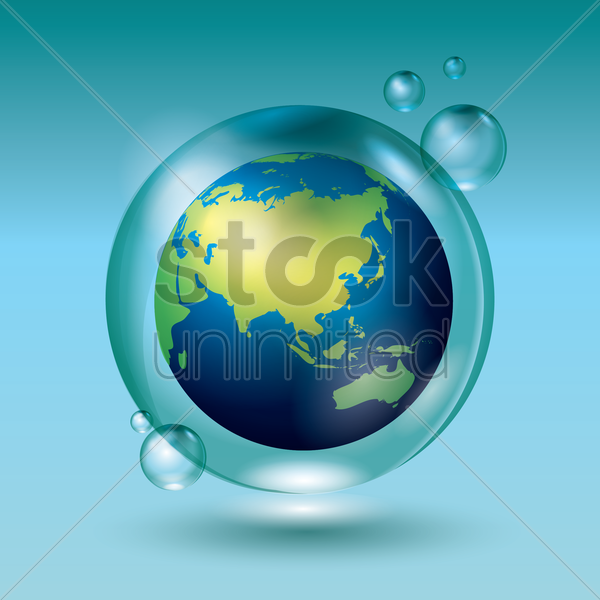 globe in a water bubble vector graphic