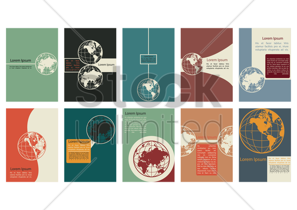 globe poster collection vector graphic