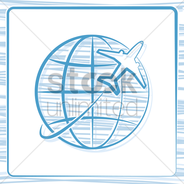 globe with aeroplane vector graphic