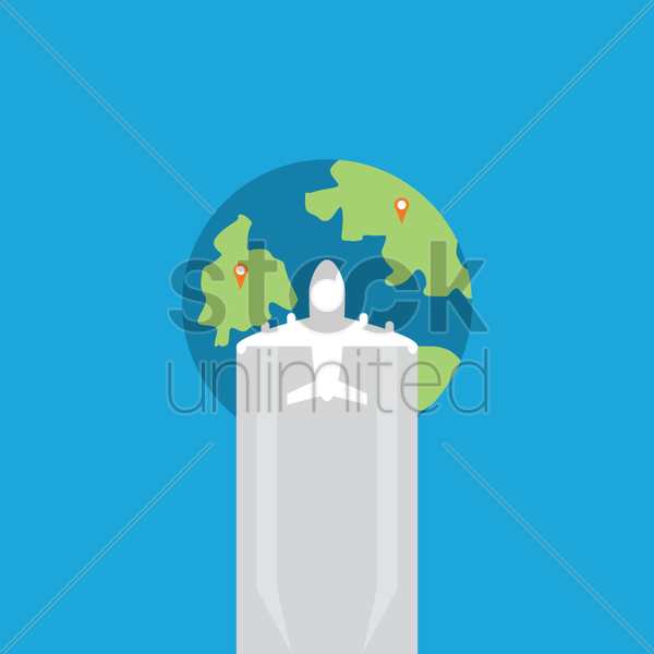 globe with airplane vector graphic