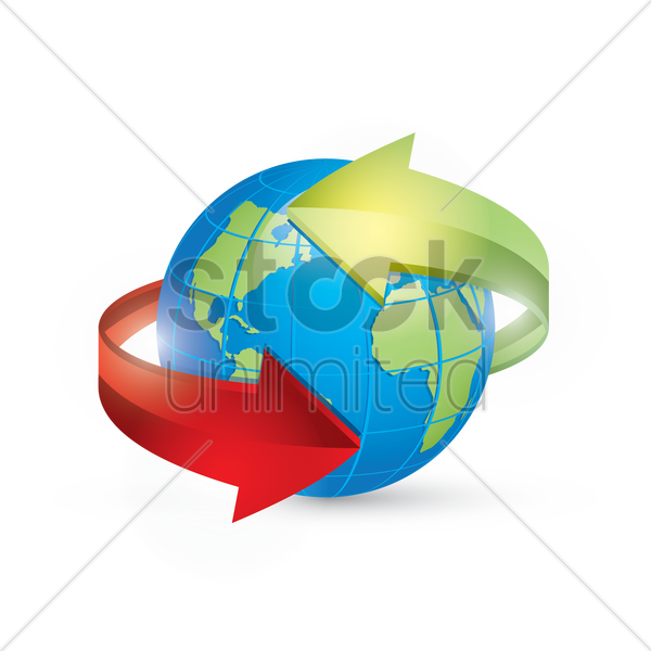 globe with arrows vector graphic