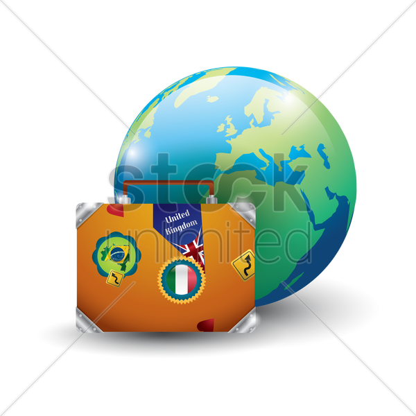 globe with luggage bag vector graphic