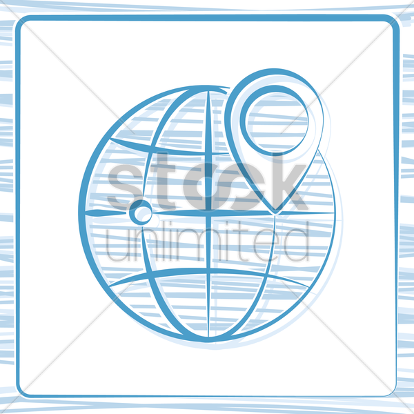 globe with navigation pointer vector graphic