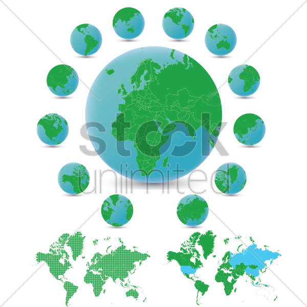 globes and a world map vector graphic