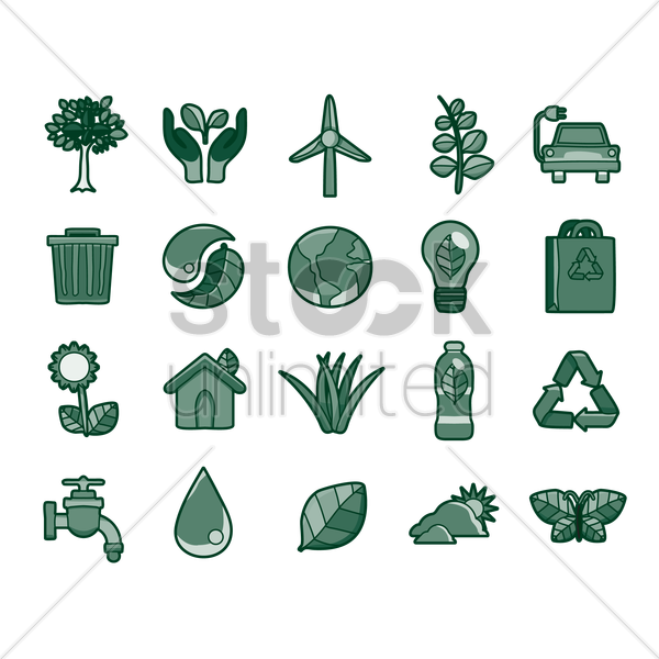 go green icons vector graphic