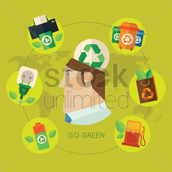 go green infographic vector graphic