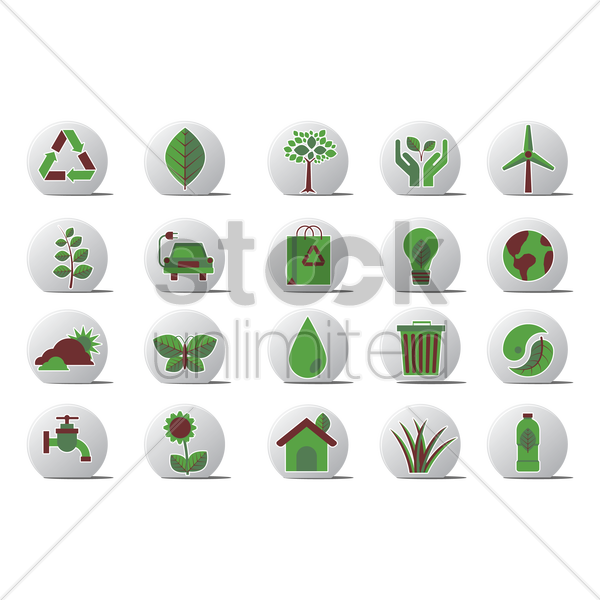 go green related icons vector graphic