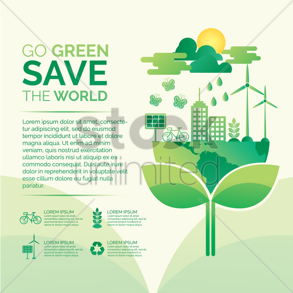 go green save the world concept vector graphic