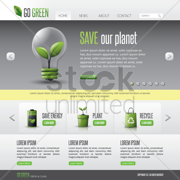 go green web page vector graphic