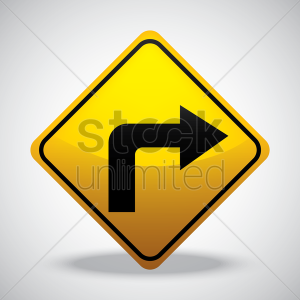 go right road sign vector graphic