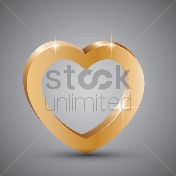 gold heart frame vector graphic