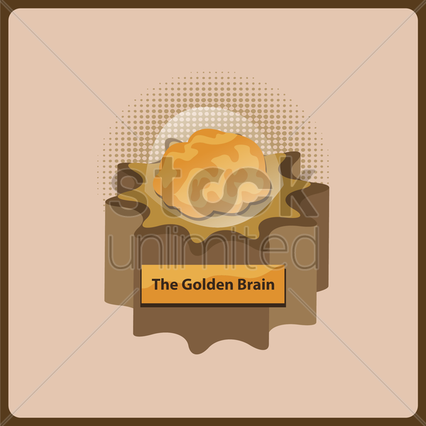 golden brain vector graphic
