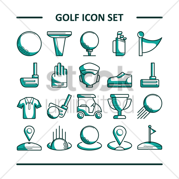 golf icon set vector graphic