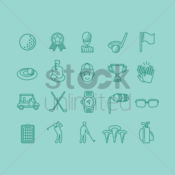golf icons collection vector graphic