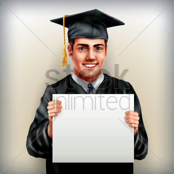 graduate man holding placard vector graphic