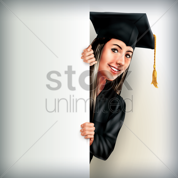 graduate woman holding placard vector graphic
