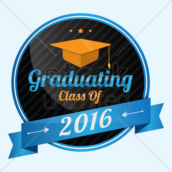 graduating class of 2016 badge vector graphic