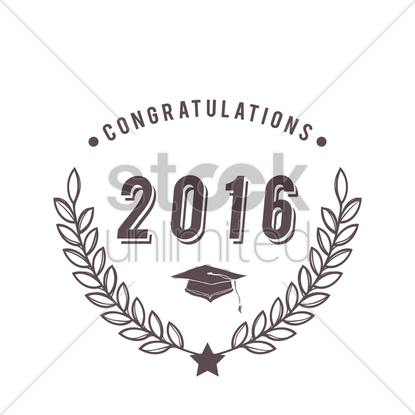 graduation 2016 badge vector graphic