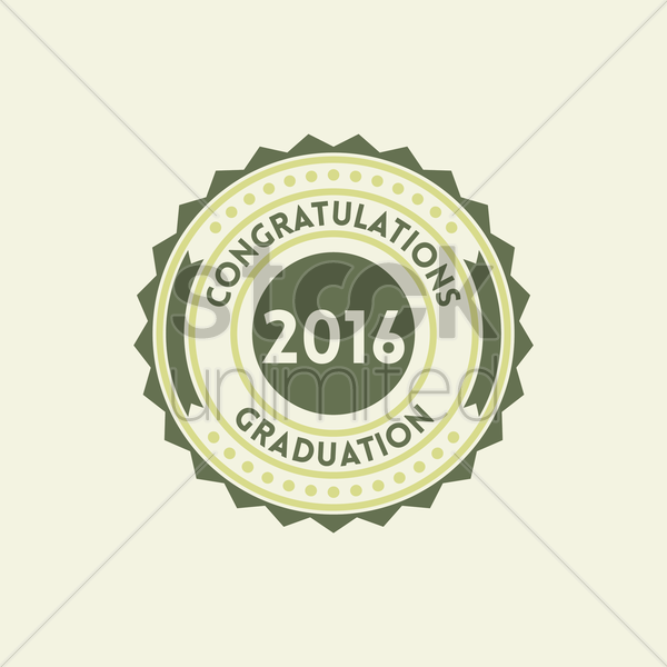graduation 2016 label vector graphic