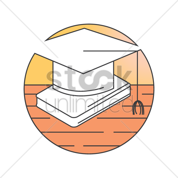 graduation hat on book vector graphic