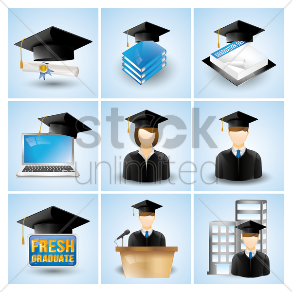 graduation icons vector graphic