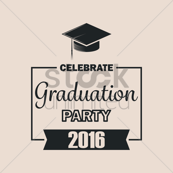 graduation party 2016 vector graphic