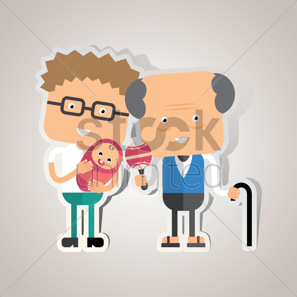 grandfather with his son and grandson vector graphic