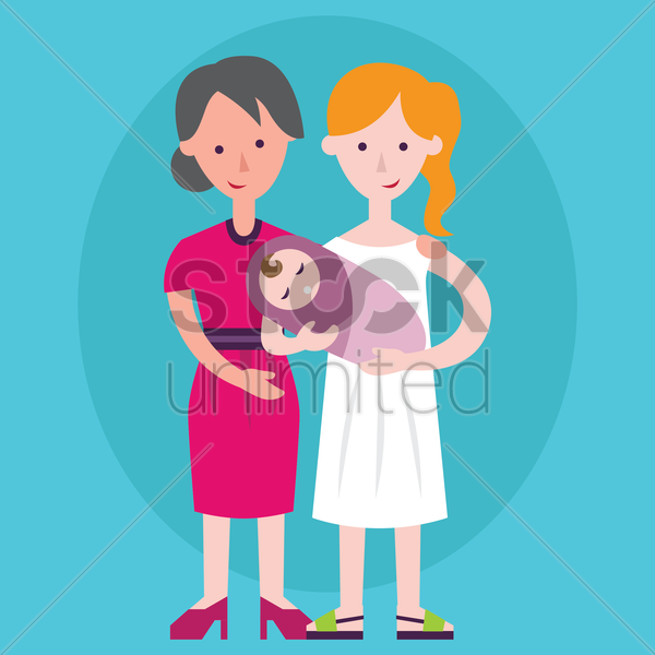 grandmother and mother holding a baby vector graphic