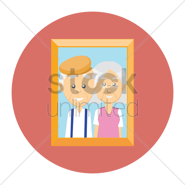 Free grandparent in photo frame vector graphic