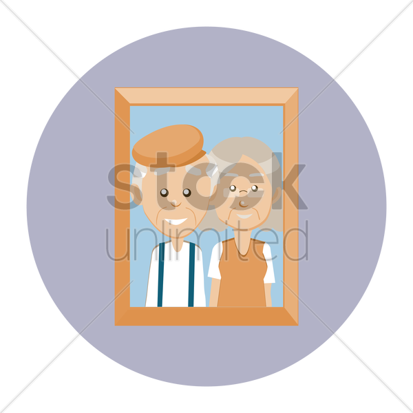 grandparent in photo frame vector graphic