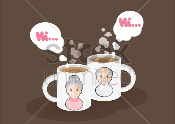 grandparent picture on mugs vector graphic
